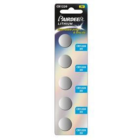 Pairdeer Brand CR1220 3V lithium button cell 5pcs (7790B-5B)