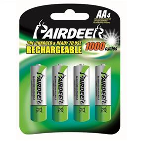 Pairdeer Brand AA 1.2V Ni-MH ready to use rechargeable batteries 2000mah  4pcs (7851B-200L-4B)