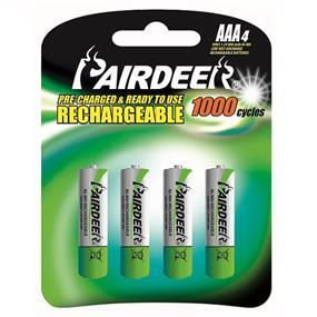 Pairdeer Brand AAA 1.2V Ni-MH ready to use rechargeable batteries 800mah  4pcs (7871B-80L-4B)