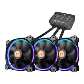 Thermaltake Riing 12 LED RGB 256 Colors High Static Pressure LED Radiator Fan + Controller (3 Fan Pack) (CL-F042-PL12SW-B)