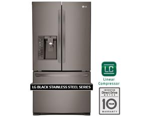 LG 36 Inch 24.0 cu.ft Counter Depth French Door Refrigerator - Black Stainless Series (LFXC24726D)