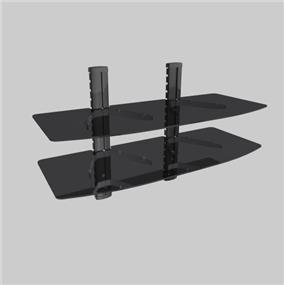 TygerClaw Double Wide Layers DVD Stand with Black Color Glass (LCD8219BLK)