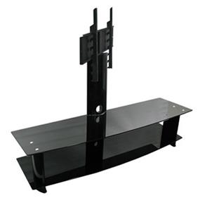 TygerClaw Double Layers TV Stand with 2 black glasses (LCD8006BLK)