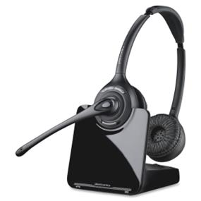Plantronics CS520 Headset - Stereo - Black, Silver - Wireless - DECT - 300 ft - Over-the-head - Binaural - Semi-open - Noise Cancelling Microphone