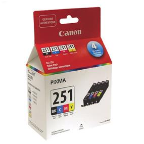 Canon CLI-251 Black and Colour Ink Cartridge Value Pack (6513B009)