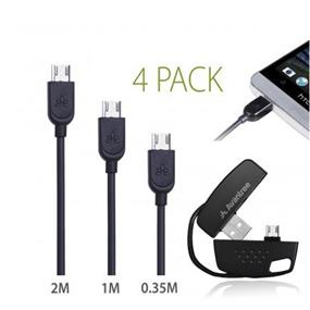 Avantree Universal 4 Pack Micro USB sync charge cable