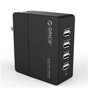 ORICO 34W 6.8A 4-Port Travel Wall USB Charger with Foldable Plug and Super charging Technology - DCX-4U-US-BK