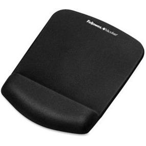 FELLOWES PLUSH TOUCH BLACK MOUSE PAD/ WRIST REST W/FOAM FUSION TECHNOLOGY