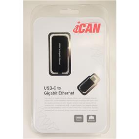 iCAN Premium USB 3.1 Type C Male to Gigabit LAN Ethernet RJ45 8Pin Female Adapter (ADP USB3C-LAN)