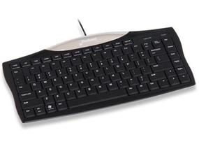 Evoluent Essentials Full Featured Compact Keyboard, Black Housing, Black Keys, White Legends