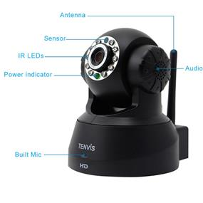 TENVIS JPT3815W-HD, Wireless day / night IP Camera, Dual way audio, Remote Pan/Tilt control, Smartphone view, Black color