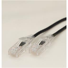 iCAN Super Slim Premium Cat6 28AWG 550Mhz Low NEXT (Near End Cross Talk) Super Speed Gigabit LAN Patch Cable with Clear Strand-relief Boots Black - 20ft (C6SLM-020BLK)