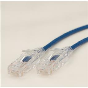 iCAN Super Slim Premium Cat6 28AWG 550Mhz Low NEXT (Near End Cross Talk) Super Speed Gigabit LAN Patch Cable with Clear Strand-relief Boots Blue - 15ft (C6SLM-015BLU)