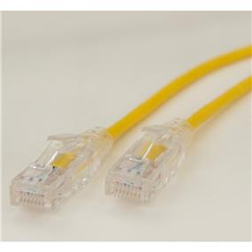 iCAN Super Slim Premium Cat6 28AWG 550Mhz Low NEXT (Near End Cross Talk) Super Speed Gigabit LAN Patch Cable with Clear Strand-relief Boots Yellow - 2ft (C6SLM-002YEL)