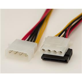 """iCAN Internal Power Cable, 1 x Molex 4pin Male to 1 x Molex 4pin Female + 1 x SATA 15pin Female power Y Cable - 12"""" (PWR M4M-1M1S-Y)"""