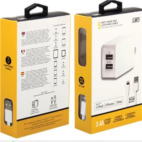 LBT Apple Approved 3.4 amp two ports wall charger. with 5 Ft separated Lightning cable(LBT052)