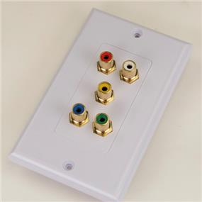 iCAN Home Theatre Faceplate 5RCA (3 CMP + 2 AV) Decora Type White Colour (FP DR5AVRCA)