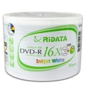 RiDATA DVD-R 16X 4.7GB White Inkjet Printable Spindle 50 Packs (DRD-47-16X-RIW50N2)