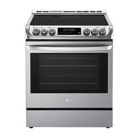 """LG 30"""" 6.3 Cu. Ft. True Convection 5-Element Slide-In Smooth Top Electric Range - Stainless Steel (LSE4611ST)"""