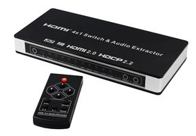 iCAN HDMI V2.0 4X1 Switch with Audio extractor, Support 4Kx2K@60Hz, 4Kx2K@30Hz, 1080P, 3D (HY-SW5401-AS)