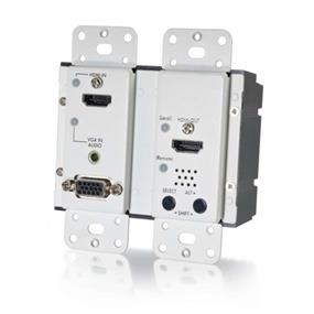 Cables To GoHDMI® AND VGA + STEREO AUDIO HDBASET OVER CAT5 EXTENDER WALL PLATE TRANSMITTER - WHITE (TAA COMPLIANT) (29301)