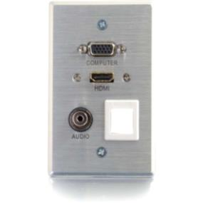 Cables to Go 3.5mm HDMI and VGA and Keystone Pass-through Wall Plate (39705)