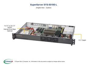 Supermicro SuperServer 5019S-L Intel® Xeon® processor E3-1200 v5,  DDR4 2133MHz; 4x DIMM slots 1x PCI-E 3.0 x8 AOC slot (SYS-5019S-L)