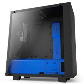 NZXT S340 Elite Tempered Glass Matte Black/Blue Mid Tower (CA-S340W-B5)