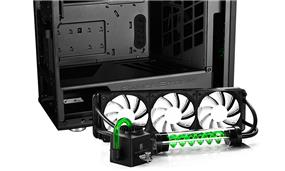 Deepcool Genome II (AM4 ready) Liquid Cooling ATX Black Case with Green Helix Windowed Mid Tower