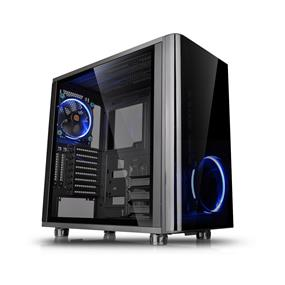 Thermaltake View 31 Dual Tempered Glass ATX Black Gaming Mid Tower Case with 2x Riing Blue LED Fans (CA-1H8-00M1WN-00)