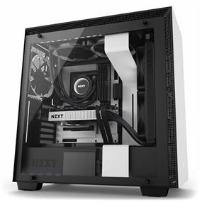 NZXT H700i Mid Tower Chassis with 3x120mm, 1x140mm and LED strips, Matte White/Black with Smart Device, Cable Management System and Tempered Glass (CA-H700W-WB)