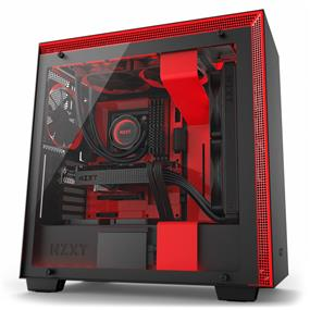 NZXT H700i Mid Tower Chassis with 3x120mm, 1x140mm and LED strips, Matte Black/Red with Smart Device, Cable Management System and Tempered Glass (CA-H700W-BR)