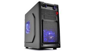 Deepcool Smarter LED MATX/MINI-ITX Black Mini Tower Case with Two Pre-installed Blue LED Fans