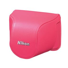 Nikon CB-N2000SD Pink Leather Body Case - For Nikon 1 J1, J2