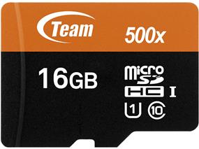 Team 16GB Class 10 UHS-I microSDHC Flash Card With Adapter - UP to 80MB/s Read, 15 MB/s Write (TUSDH16GUHS03)