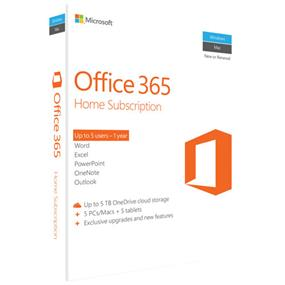 Microsoft Office 365 Home Subscription + Exclusive Upgrades and New Features - 5 PC/Mac, 5 Tablet, 5 User, 5 TB OneDrive Cloud Storage - 1 Year - Medialess - Office Suite Box - Intel-based Mac, PC, Handheld - English MEDIALESS P2 (6GQ-00643)