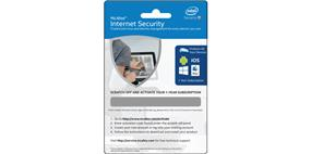 McAfee Internet Security Subscription License Physical Activation Card