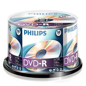 Philips DVD-R 16X (Premium) 4.7GB Silver Logo Spindle 50 Packs (DM4S6B50F/17)
