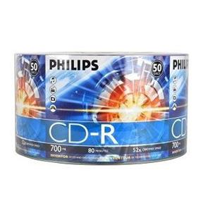 Philips CD-R 52X 80min 700MB Full Logo Silver Matte Surface Bulk Colour Wrap 50 Packs (CR7D5NV50/17)