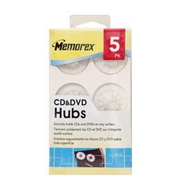 Memorex 5PK CD/DVD Adhesive Hubs