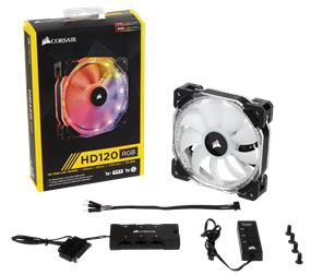 CORSAIR HD120 RGB LED (CO-9050066-WW) 120mm High Performance Individually Addressable RGB LED PWM Fans with controller