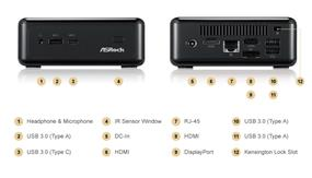 ASRock BeeBox J3160 Black Barebone Mini PC, Intel Celeron J3160 Up to 2.24 GHz, Intel HD Graphics, Dual Channel (Beebox J3160/B/BB   )