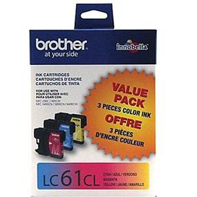 Brother LC-61 Tri-Color Ink Cartridges (LC613PKS)