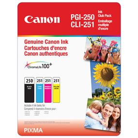 Canon PGI-250 / CLI-251 Black and Colour Ink Cartridge Value Pack (6497B009)