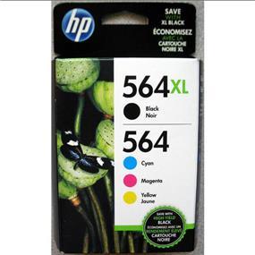 HP 564XL Black High Yield & 564 Cyan, Magenta and Yellow Original Ink Cartridges, 4 pack (N9H60FN)
