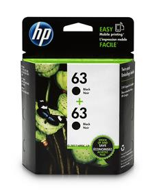 HP 63 Black Original Ink Cartridge, 2 pack (T0A53AN)