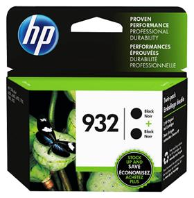 HP 932 Black Original Ink Cartridges, 2 pack (L0S27AN)