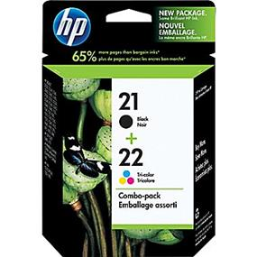 HP 21 Black & 22 Tri-colour Original Ink Cartridges, 2 pack (C9509FN)