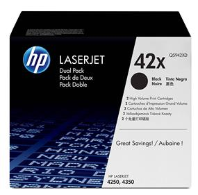 HP 42X (Q5942XD) Black High Yield Original LaserJet Toner Cartridges, 2 pack