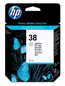 HP 38 Light Gray Pigment Original Ink Cartridge(C9414A)